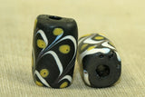 Venetian rectangular black Glass Bead