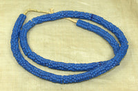 Antique Czech Blue Glass Flower Beads