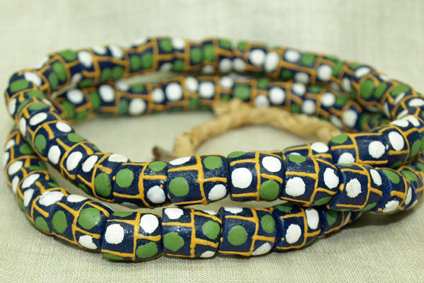 "Strand of New ""Sand"" Glass Beads from Ghana"
