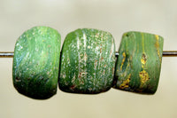 Three Funky Green Hebron Glass Beads