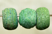 Three Funky Dusty Green Hebron Glass Beads