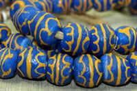 Strand of lovely blue and gold Sand Beads from Ghana
