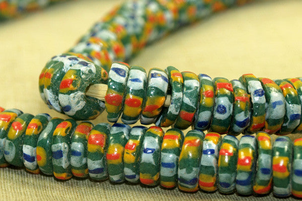 Colorful Strand of Imitation Eja Beads from Ghana