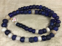 Strand of Large, Antique Cobalt Blue and White Dogon Beads