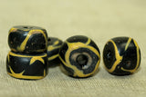 Set of Antique Black and Yellow Venetian Beads