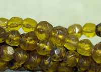 Czech-Made Amber glass English-Cut Glass Beads