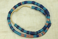 Vintage Blue and Pink Glass Snake Beads