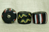 Antique Venetian Glass Squiggle and Stripe Bead