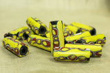 Yellow Venetian glass millefiori bead