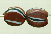 Flat Roundish Brown Watermelon Bead