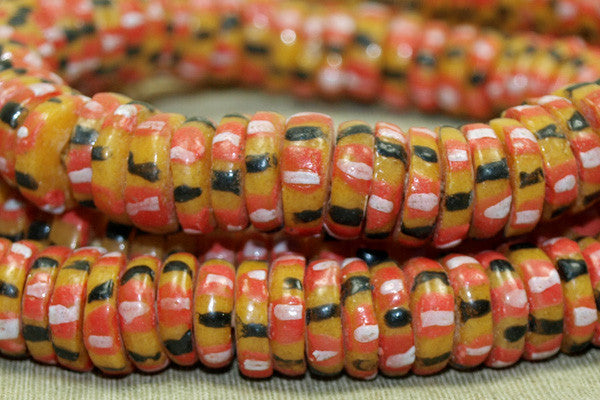 New Red, Pink, orange-Yellow & black Eja Beads from Ghana