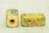 Pair of Fancy Flower Rectangular Beads