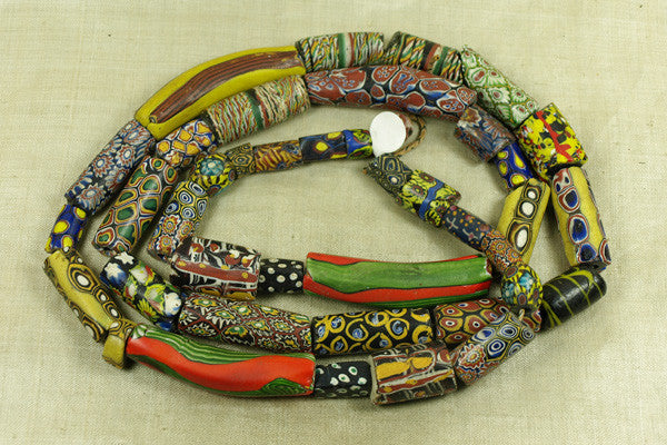 Strand of very cool Antique Venetian Mille Fiore Beads