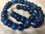 Strand of Large, Antique Cobalt Blue Large Dogon Beads