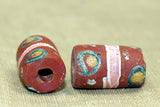 Antique Brick Red Venetian Bead with eyes