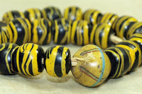 Black and Yellow Venetian Glass Beads