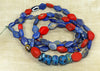 "Huge Strand of Rare Red and Blue African Trade ""Kiffa"" Beads"