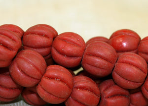 Strand of Vintage Red Glass Beads from Nepal