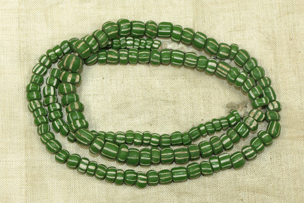 Strand of Green and White Striped Beads