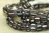 Red & White Striped Black Glass Beads