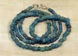 "24"" Necklace of Ancient Cambodian Glass Beads, Denim Blue"
