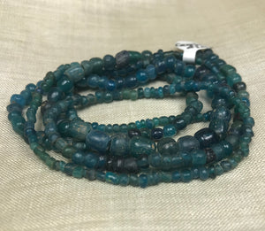 Strand of Deep Teal Ancient Cambodian Glass Beads