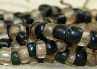 Strand of Antique Dark Green, Black, and Clear Bonda Beads from India