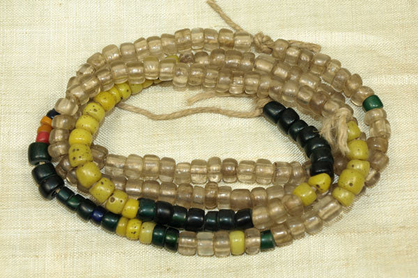 Yellow, clear, black Vintage Bonda Beads from India