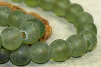 Olive green glass beads from Nepal