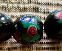 Large Black Venetian Beads with Flowers