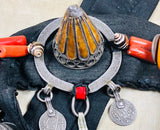 Moroccan Enameled Silver Belt with Amber and Coral