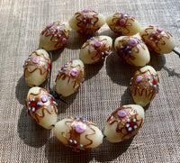 Large Venetian Off-White Melon Beads, Wedding Cake
