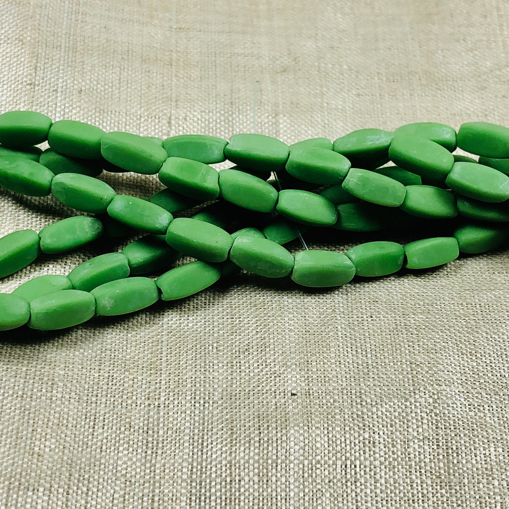 Vintage Czech Opaque Green 4-sided Cylinder Beads