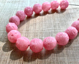 Pink Lattice Glass Beads, Japan
