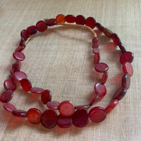 Antique Ruby Glass Lentil Beads