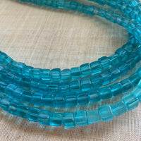 Antique Aqua Transparent Glass Cube Beads