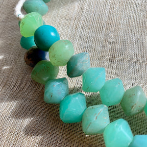 Large Seafoam Green Vaseline Beads, 1800's