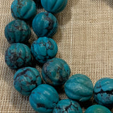 Afghan Carved Turquoise Round Beads