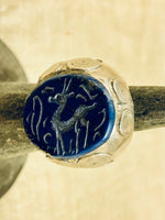 Lapis Carved Deer Ring