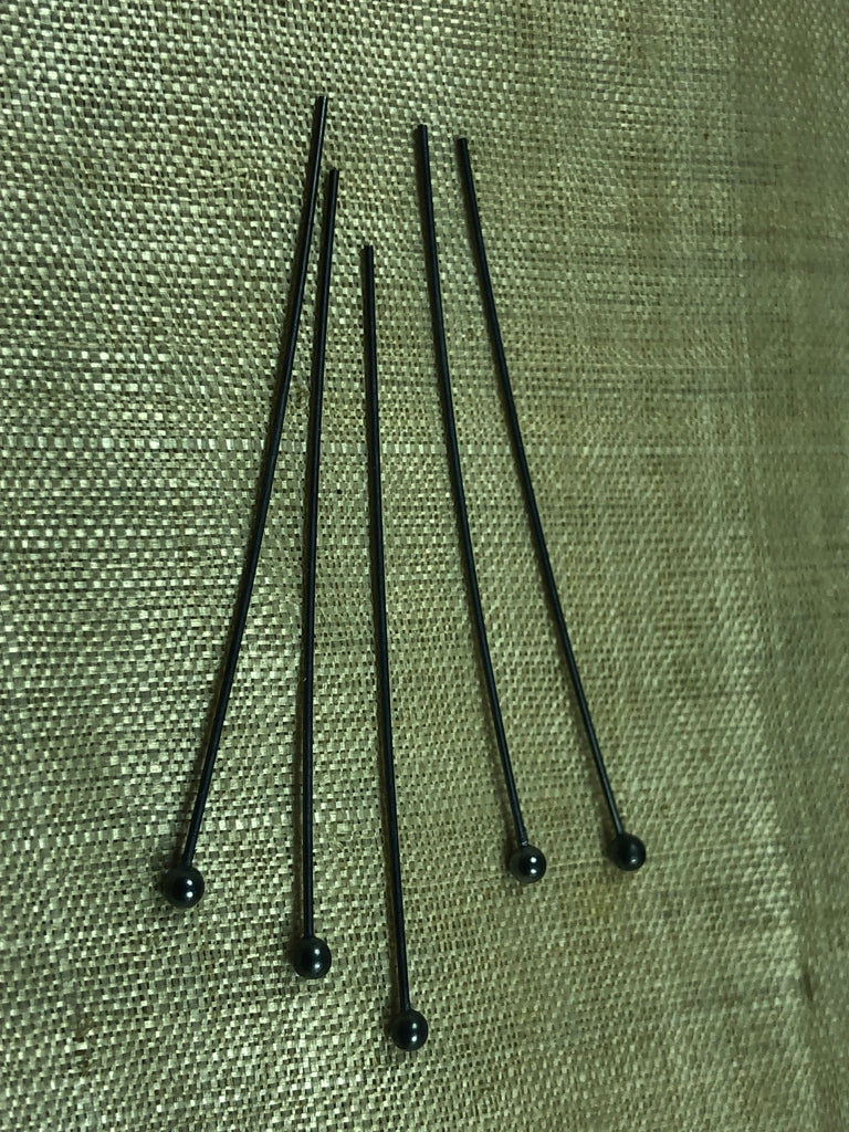 2 Inch Ball Pins, Oxidized Sterling