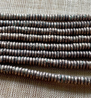 4mm Antique Silver Color Heishi, Ethiopia