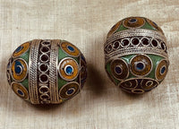 Large Pair of Enameled Berber Beads