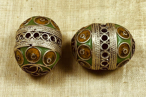 Medium Pair of Berber Enameled Silver