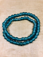 8mm Dusty Blue Recycled Glass Beads from Ghana