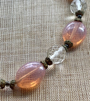 Vintage Pink Opal Glass Necklace