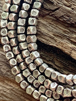 Thai Silver Tiny Stamped Square Beads