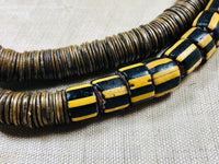 Bronze Eja Beads With Yellow Jacket Chevrons