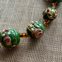 Antique Green Wedding Cake Beads, Strand
