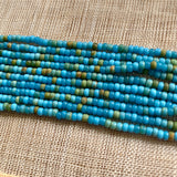Greasy Cerulean Blue, Green, Mustard 10º Seed Beads