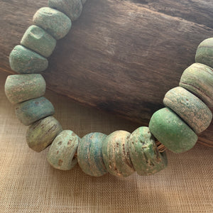 Strand of Old Green Hebron Glass Beads